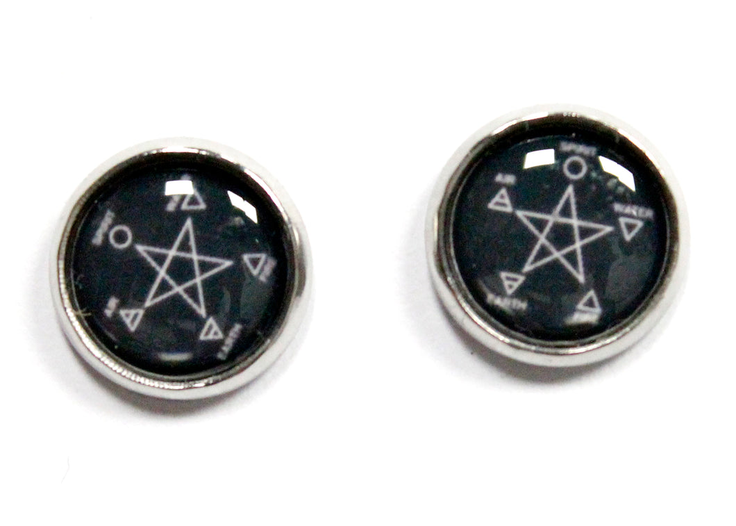 Pagan Element Star Round Stud Earrings