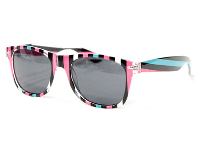 Prism Sunglasses in Pink & Teal Stripe