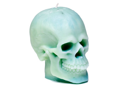 Skull Candle in Mint Green