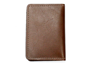 Leather ID & Card Case Wallet in Brown