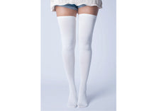 Micro Modal Cotton Thigh High Socks In Solid White