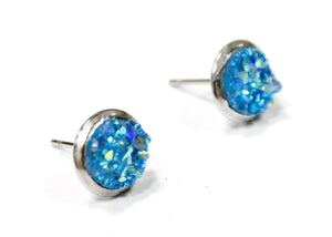 Azure Blue Druzy Crystal Stud Earrings in Stainless Steel