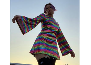 Witchy Dress in Metal Rainbow