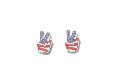 American Flag Peace Sign Earrings