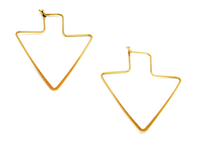Arrow Hoop Earrings in Brass