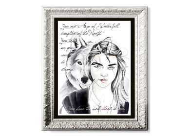 Arya & Nymeria With Quote Art Print