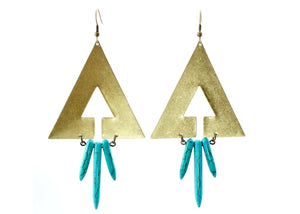 Azop Earrings in Brass & Turquoise Howlite