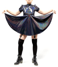 Galaxy Girl Babydoll Dress in Rainbow Vortex