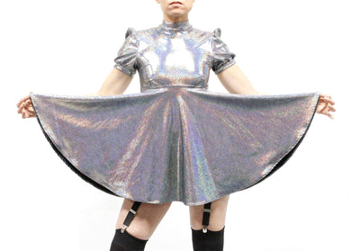 Galaxy Girl Babydoll Dress in Mercurial Silver