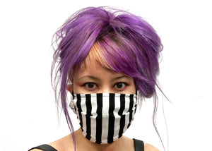 Black & White Stripes Reversible Face Mask
