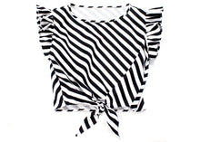Dilophos Ruffle Crop Blouse in Black & White Stripe