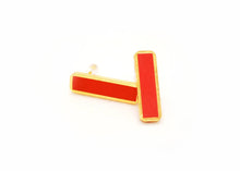Red Bar Stud Earrings