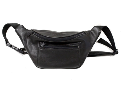 Leather Fanny Pack in Black