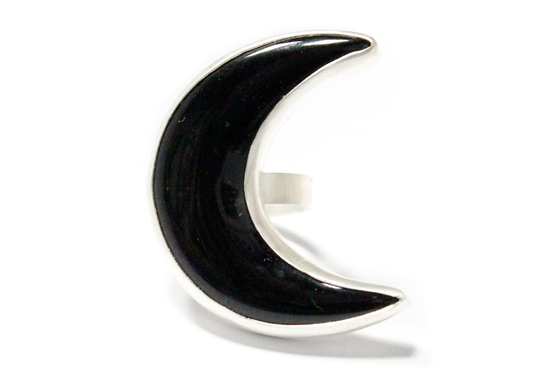 Vertical Crescent Moon Ring in Sterling Silver & Black Onyx