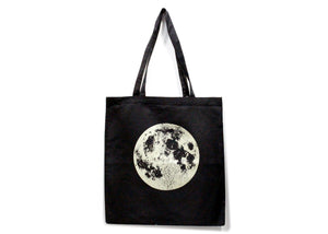 Metallic Full Moon Tote Bag in Black