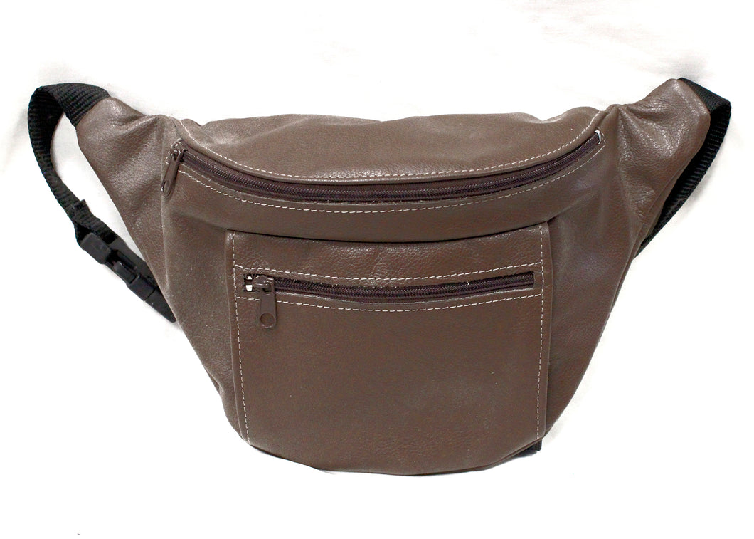 Large Leather Fanny Pack in Brown