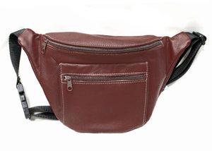 Large Leather Fanny Pack in Burgundy