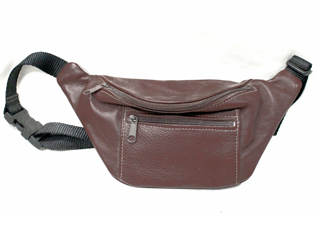 Leather Fanny Pack in Burgundy