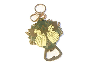 Butterfly Bottle Opener Keychain in Yellow