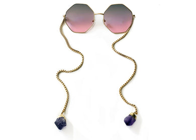 Can't Stop Won't Stop Sunglasses in Purple Lens with Amethyst