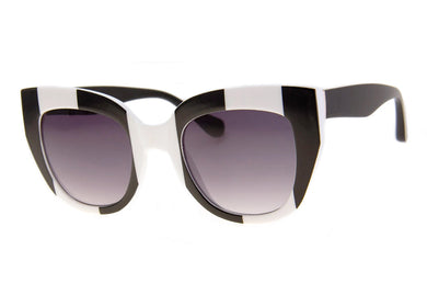 Captured Sunglasses in Black & White Stripe