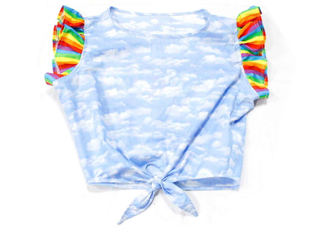 Dilophos Ruffle Crop Blouse in Clouds & Rainbows