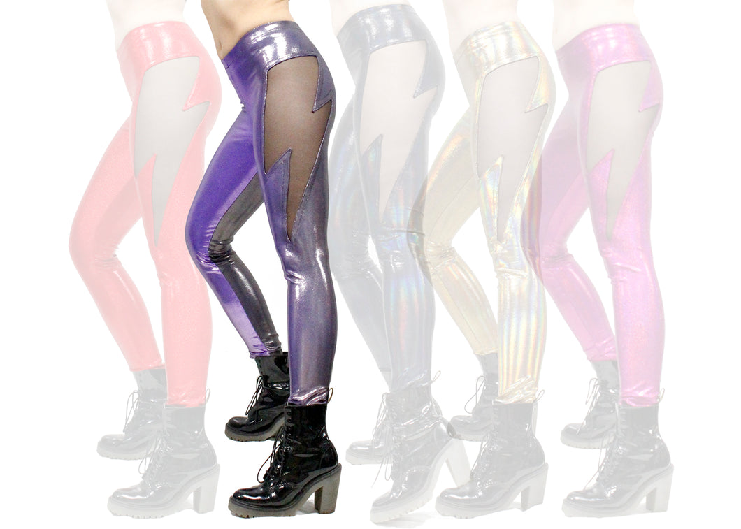 Lightning Leggings in Lavender-Gunmetal Ombré