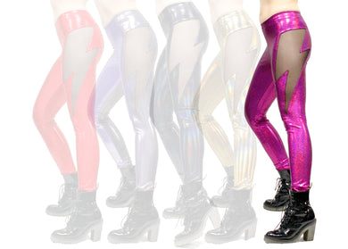 Lightning Leggings in Pink Holographic Shimmer