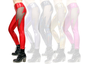 Lightning Leggings in Red Glitter