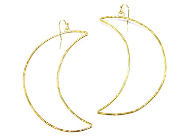 Crescent Moon Hoop Earrings in Brass