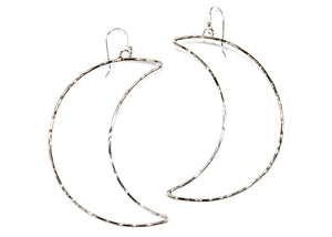 Crescent Moon Hoop Earrings in Sterling Silver
