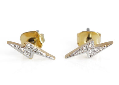 Crystal Lightning Bolt Stud Earrings