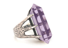 Crystal Talon Ring in Sterling Silver & Amethyst