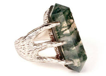 Crystal Talon Ring in Sterling Silver & Moss Agate