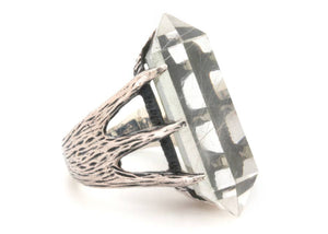 Crystal Talon Ring in Sterling Silver & Quartz