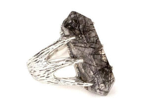 Crystal Talon Ring in Sterling Silver & Tourmalated Quartz