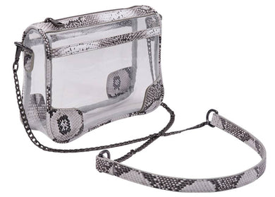 The Drake Clear Bag In Gray Kingsnake