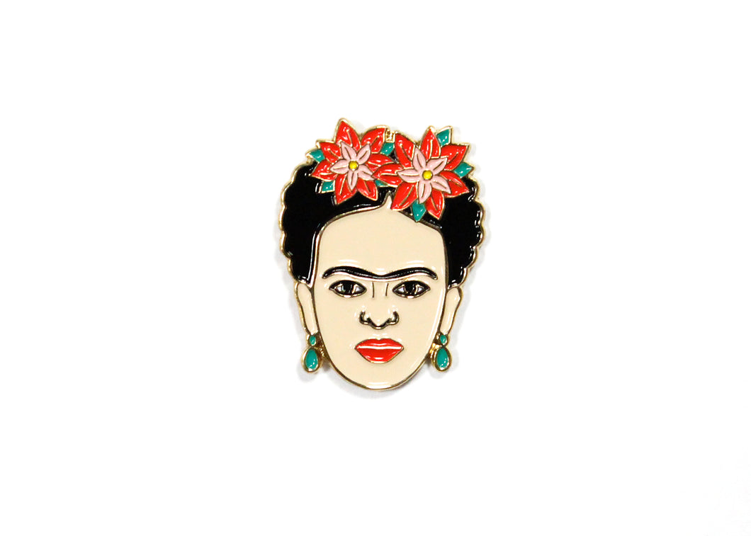 Frida Kahlo Red Floral Enamel Pin