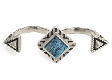 Geo Double Ring in Sterling Silver & Labradorite