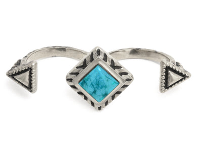 Geo Double Ring in Sterling Silver & Turquoise