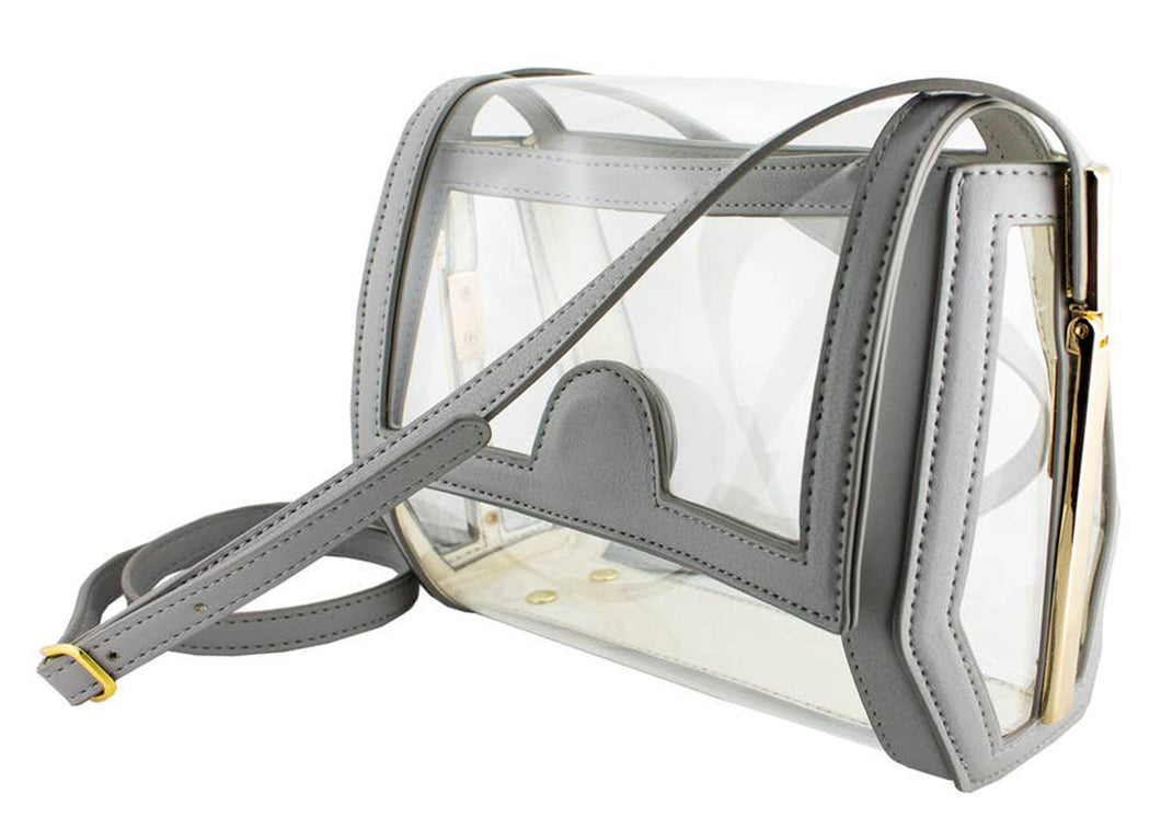 Geo Clear Crossbody in Grey