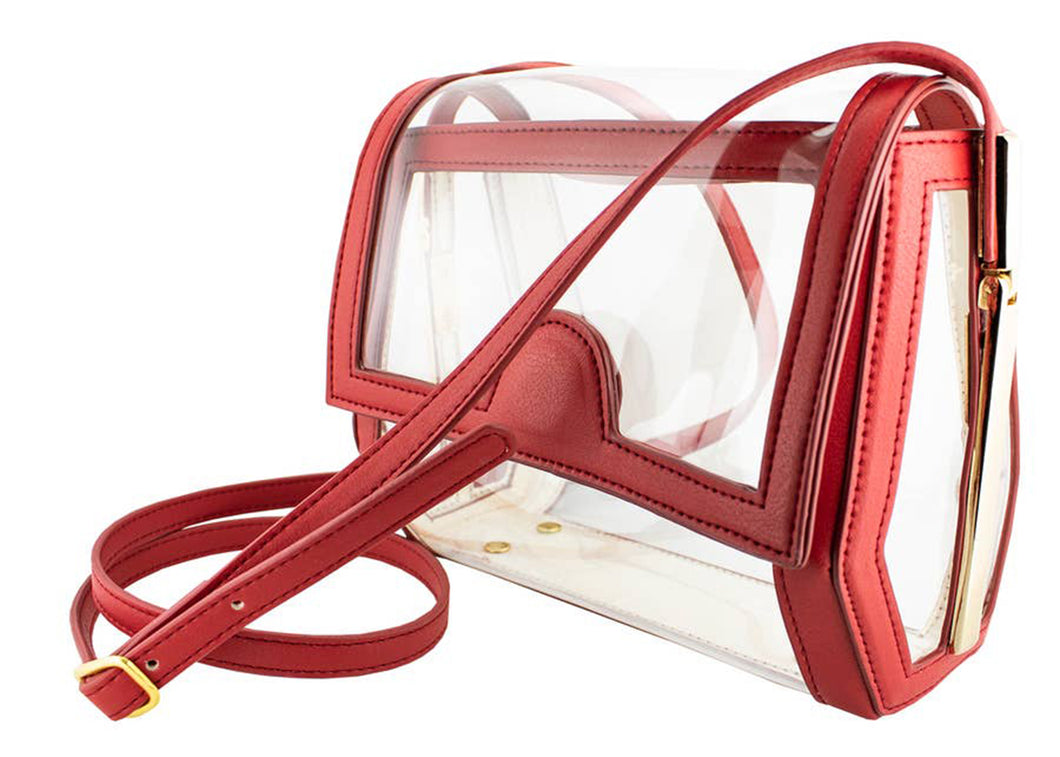 Geo Clear Crossbody in Red