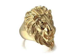 Lion Ring in Gold Plated Steel