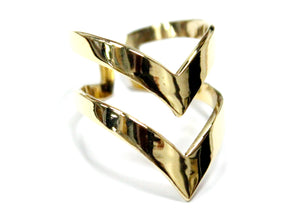 Double Chevron Ring In Brass