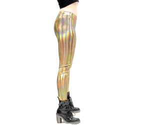 Lightning Leggings in Holographic Gold