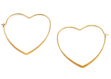 Heart Hoop Earrings in Brass