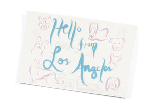Hello From Los Angeles Dogs Postcard