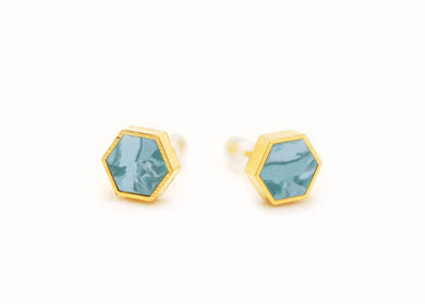 Aqua Marbled Hexagon Stud Earrings