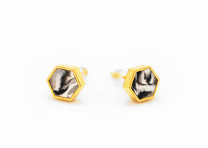 Black Marbled Hexagon Stud Earrings