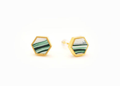Forest Green Marbled Hexagon Stud Earrings